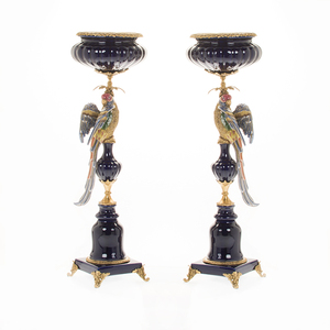 Tall Funny candlestick blue color candle holders in pair made in China