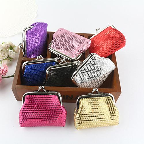 Women s Sequins Coin Purse Bling Bling Clutch Glittery Handy Buckle Mini Wallet 6B17