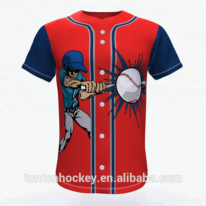 100% polyester custom sublimatie baseball jersey