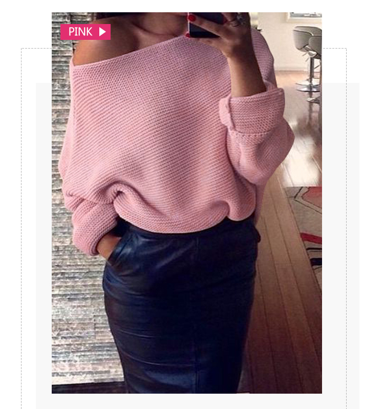 New design manufacturers Off Shoulder Solid Color Long Sleeve christmas plus size pullover ladies wool  knit Sweaters for women