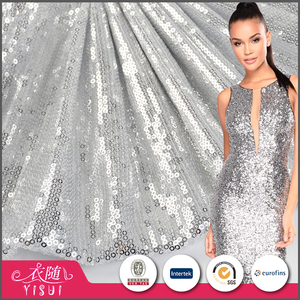 Alibaba supplier beautiful silver sequins cheap garment fabric