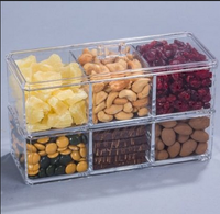 Eco-friendly Crystal 6 Bin Acrylic Sectional Container for Gourmet Chocolates, Nuts, Dried Fruits GiftWholesale