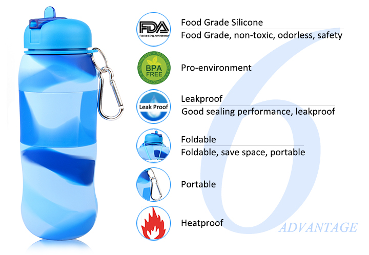 Promotional Silicone Water Bottle Collapsible Deer Xmas