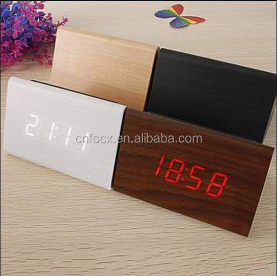 Triangular Wooden LED Alarm Clock / Digital Thermometer Clock / Mini Wooden Digital Alarm Clock with LED