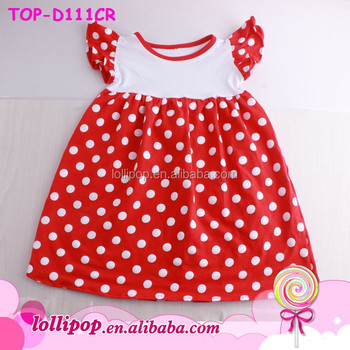 ed79e32bb47d Summer Boutique Remakes Children Clothing Girls Flutter Sleeve Pearl Dresses  Minnie Red White Polka Dots Kids