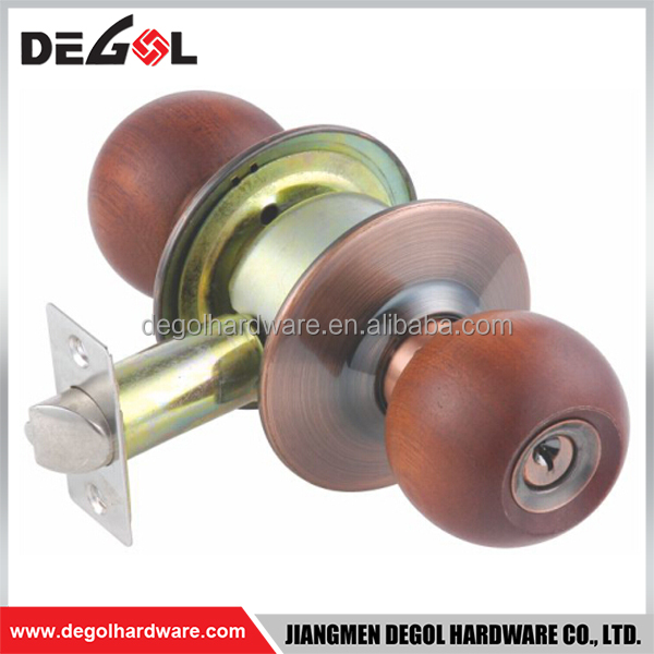 China manufacturers special design high security cylindrical entrance wood knob