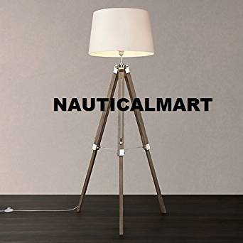 CONTEMPORARY DESIGN MODERN TRIPOD FLOOR LAMP WITH WHITE SHADE FOR DRAWING ROOM