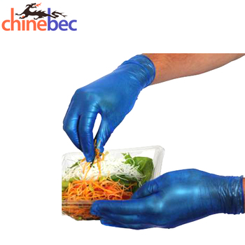 Blue Color Waterproof Vinyl Gloves for Restaurant and Household
