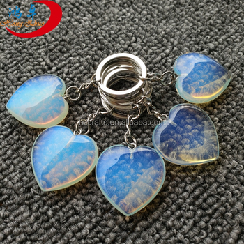 High quality natural stone key ring ,gemstone keychain heart