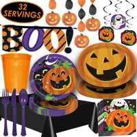 "Halloween Decorations Serves 32 Paper Plates Party Cups Napkins Cutlery Tablecloths Trays Swirls ""BOO!"" Banner Halloween Props"