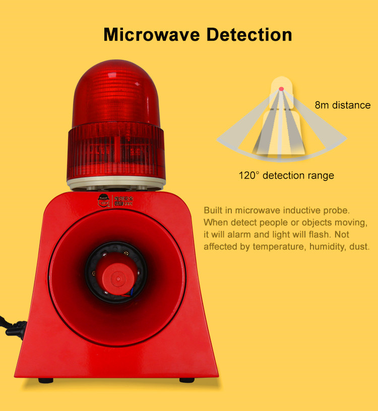 220V Rechargeable 120db High Decibel Portable Security Alarm Siren with Beacon Light Motion Detection
