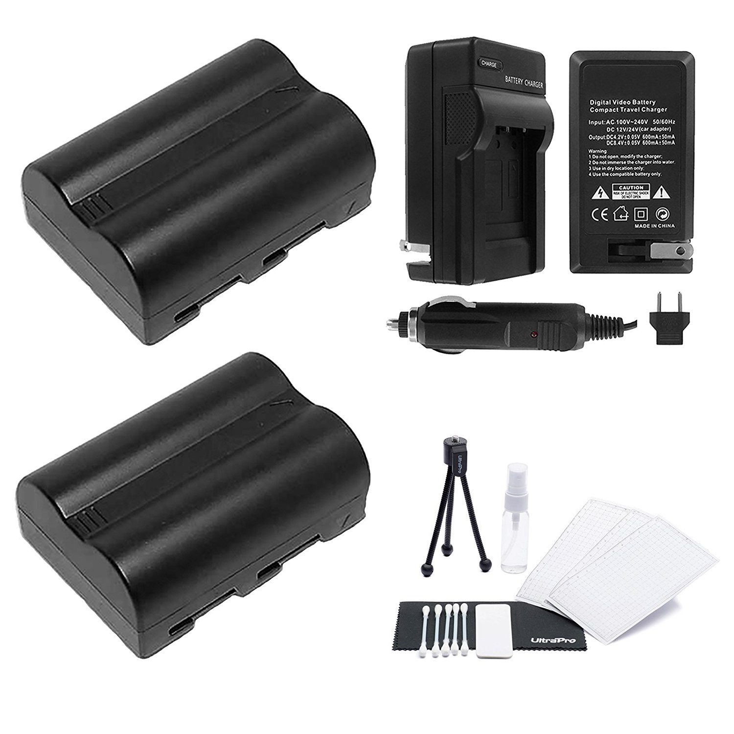 D3000 and D40 EN-EL9a Battery 2-Pack Bundle with Rapid Travel Charger and UltraPro Accessory Kit for Select Nikon Cameras Including D5000 D40x D60
