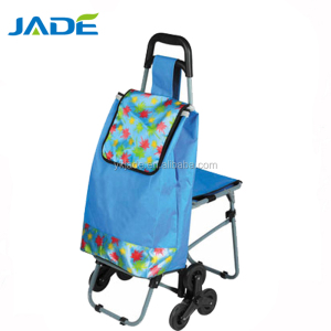 Alibaba online shopping electric shopping trolley with chair shopping cart bag