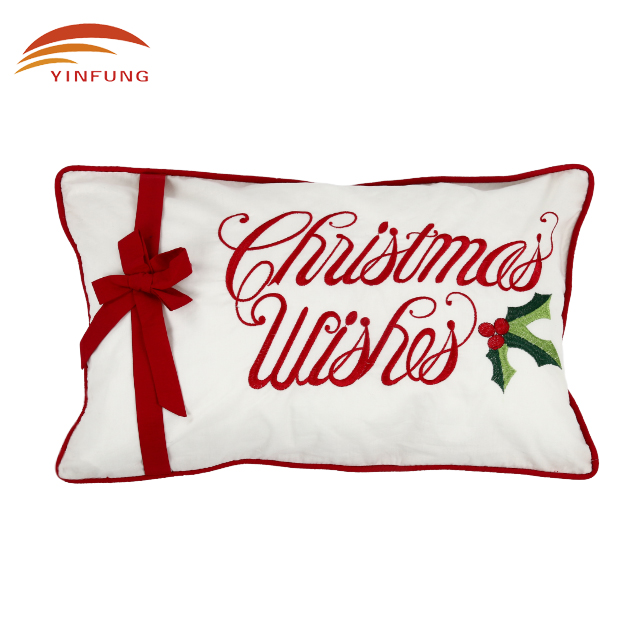 letters pattern polycotton embroidery christmas cushion cover