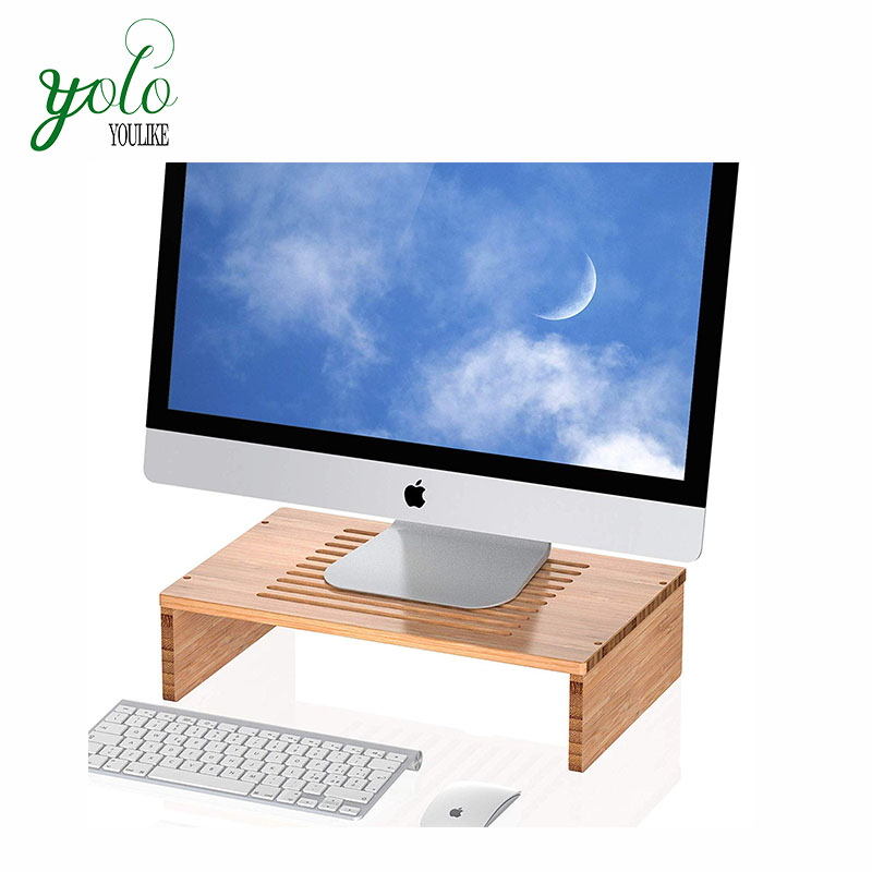 Wholesale 100% Natural High Quality  Wooden Simple Design High Quality Bamboo Laptop Stand With Vented