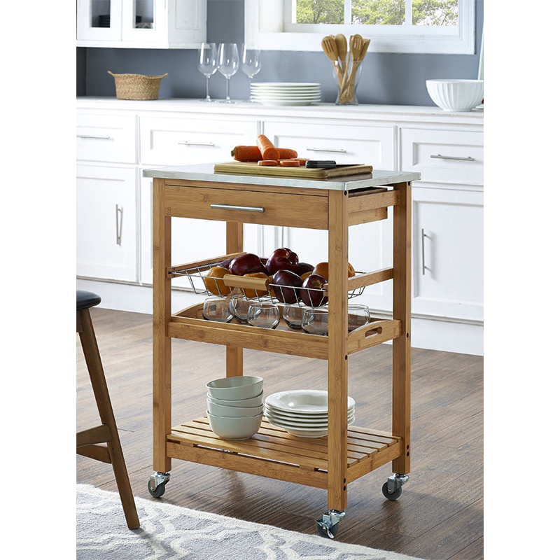 bamboo wooden kitchen trolley
