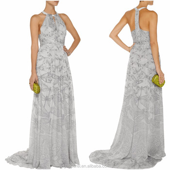 08224f518a Wholesale 2015 latest evening gown designs Printed silk chiffon ladies long  evening party wear gown dress