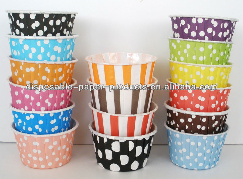 polka dots and stripes Cupcake Muffin Paper Cups Liners Snack Baking Cups Portion Nut Candy Souffle Ice Cream