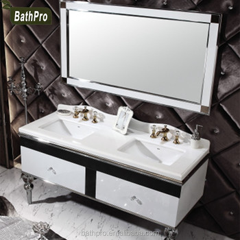 White Counter Top Stainless Steel 60 Inch Double Sink Bathroom