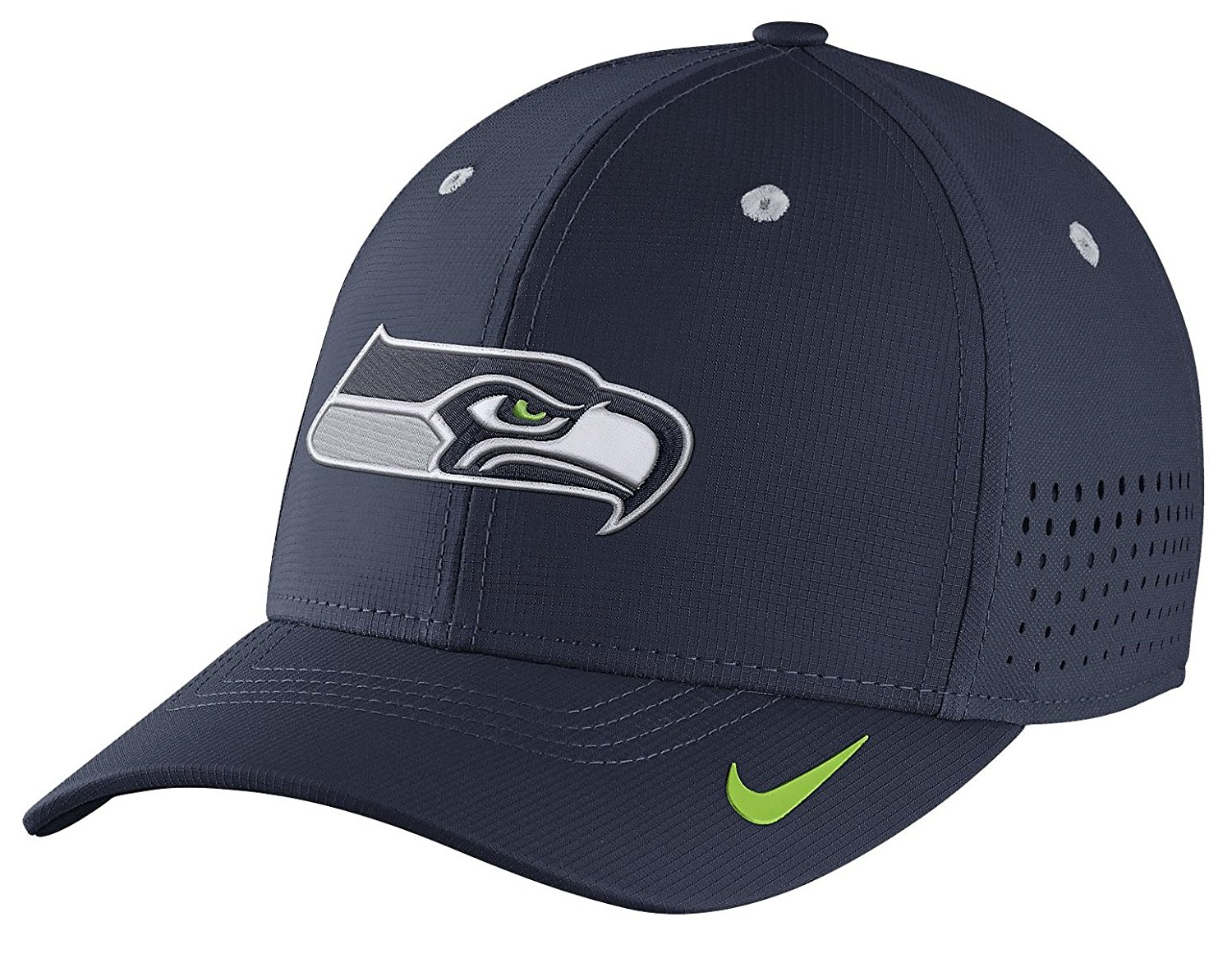 3d373871934bf Get Quotations · Nike Legacy Vapor Swoosh Flex (NFL Seahawks) Fitted Hat