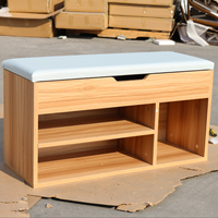 Double layer design shoe cabinet wood household entryway shoe bench