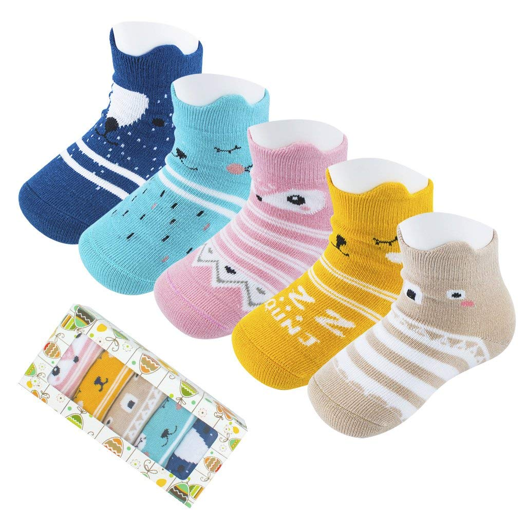 Liwely 6 Pairs Baby Socks Anti Slip Skid Cotton Socks with Grips for 3-12M Boy Girl