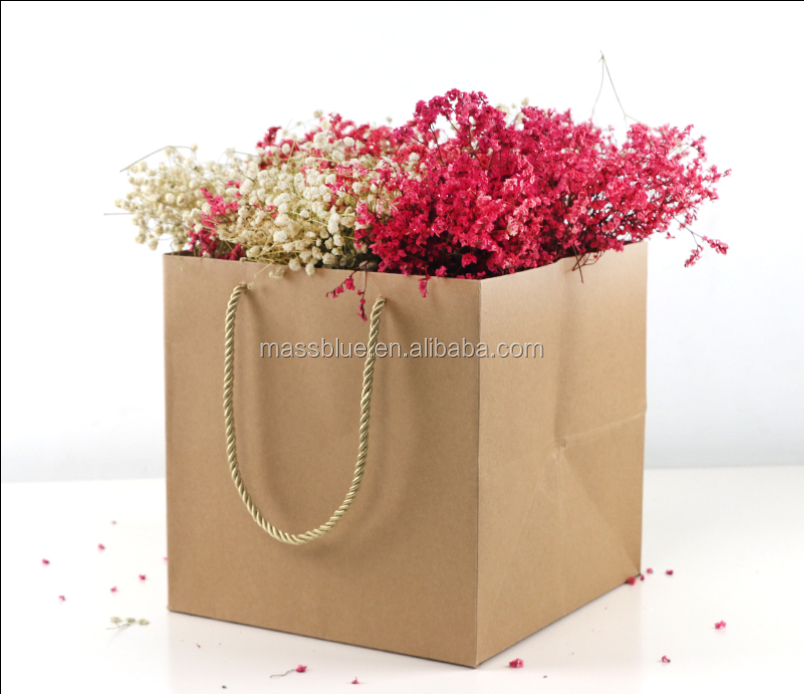 kraft paper bags for potted plant flower shopping packaging