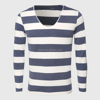 Wholesale Custom Fashion Clothing Striped T Shirts for Men Scoop Neck Long Sleeve Fitted Basic Tees Casual Tight Fitted T-Shirts