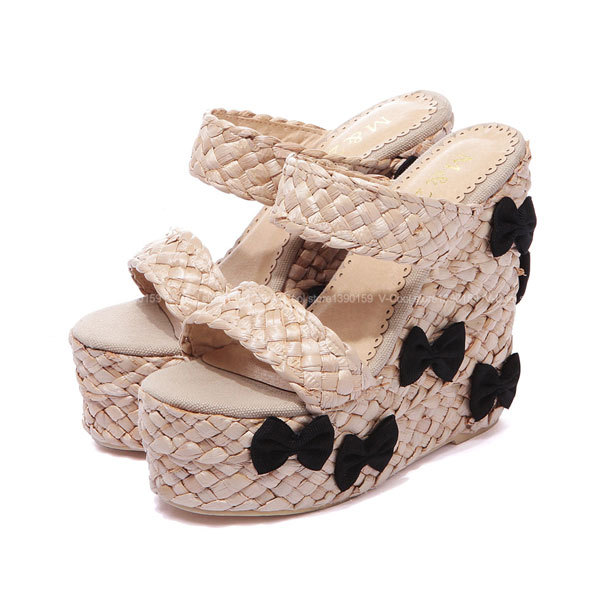 Brand Designer Woman Shoes Summer 2015 Women Wedge Sandals Hot Women Bowtie Shoes Cane Sandals Ethnic Sandalias Plataforma