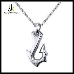 Mens Fashion Jewelry Stainless Steel Casting Fish Hook Charm Pendants Wholesale