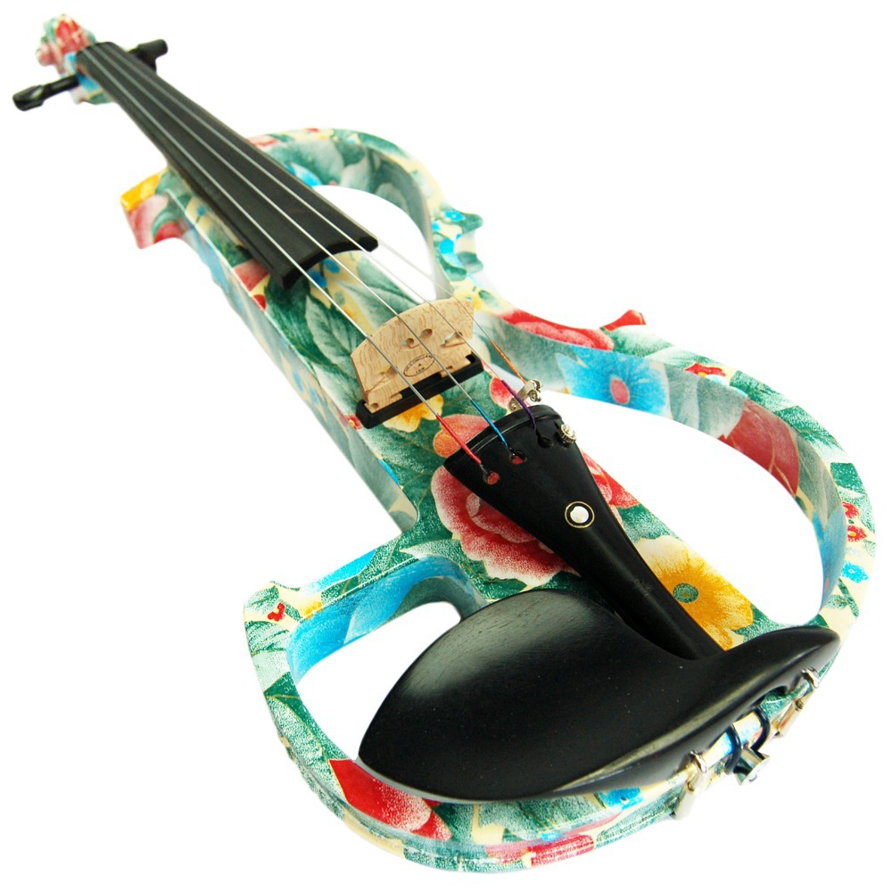 Ebony Fitted Solid Wood Colored Advanced Electric Violin with Case ...