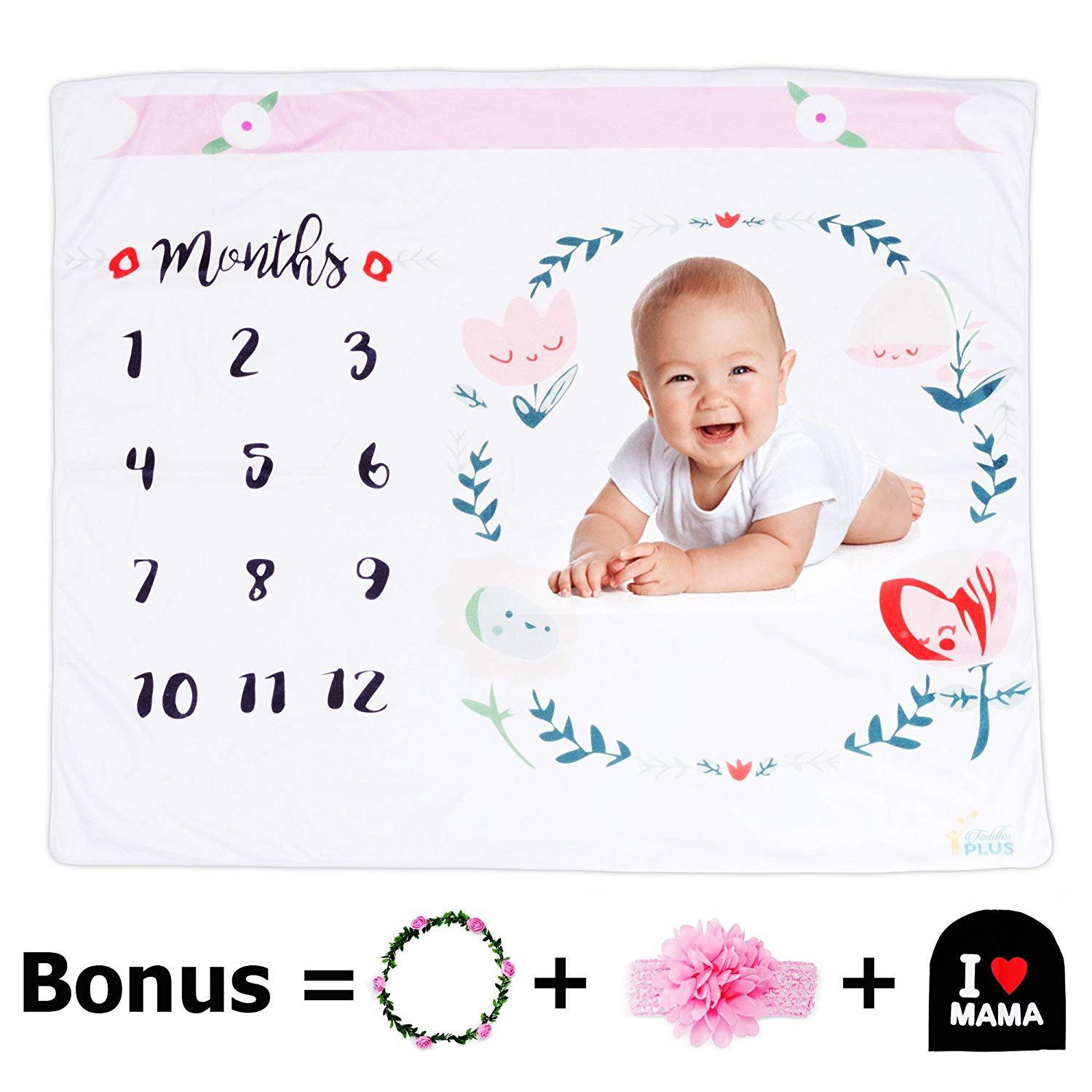 "Monthly Baby Milestone Blanket |Premium Bundle Includes Headband, Floral Wreath & Bonus Baby Hat |100% Blanket |Baby Swaddling Blanket for Photography Large 47"" x 47"" 