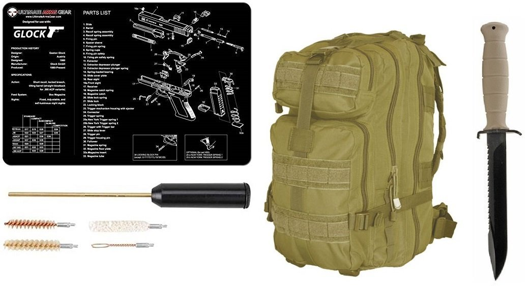 "Glock 81 Sand Tan Field Knife 6.5"" Length Carbon Steel Blade with Saw Spine Polymer Handle Clip Point with Sheath + Ultimate Arms Gear MOLLE Backpack + Glock Mat + Cleaning Kit"