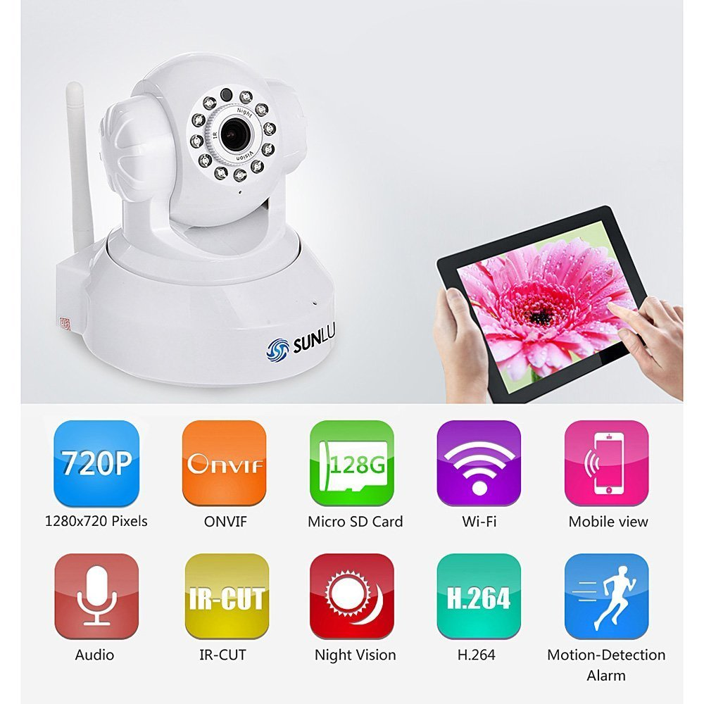SUNLUXY 720P Wireless WIFI IP Camera Security System, Pan&Tilt / Plug&Play / H.264 HD / IR Cut Night Vision / APP Remote View
