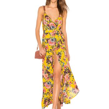 2018 Vestidos De Las Mujeres De Verano Vocación Casual Floral Hendidura Vestido Para Damas Buy Vestidos De Verano Para Mujervestido Con
