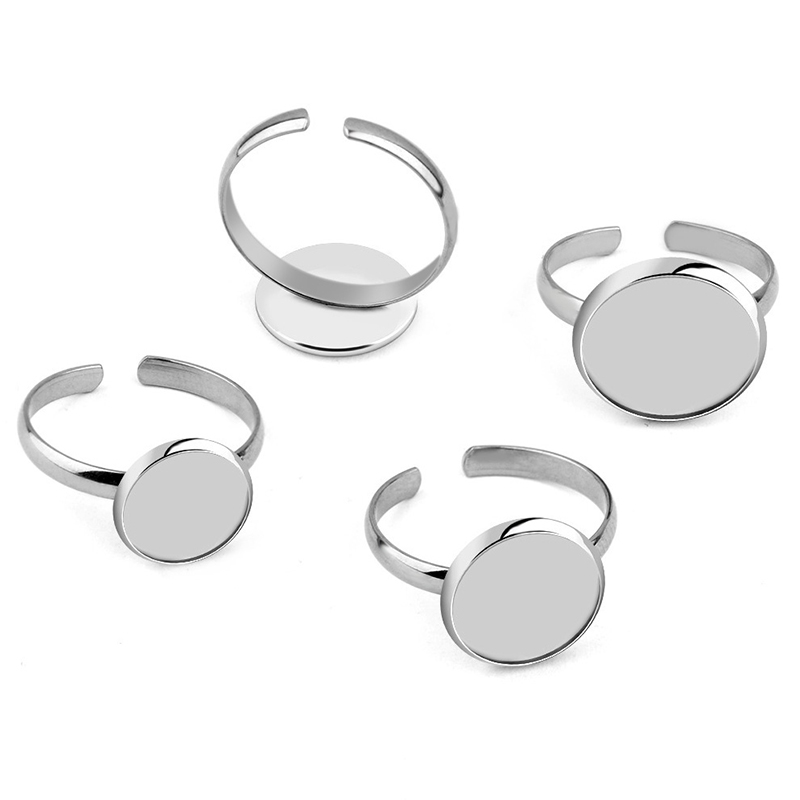 No Fade Stainless Steel Adjustable Ring Settings Blank/Base,Fit 8mm 10mm Glass Cabochons,Buttons;Ring Bezels