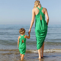 2017 Summer Item Mom And Child Matching Clothes From China Girl Green Long Beach Dresses Cotton