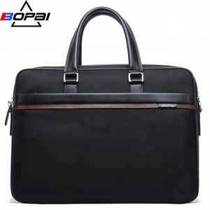 Fashion contrast black nylon brown leather exclusive laptop seminar bag
