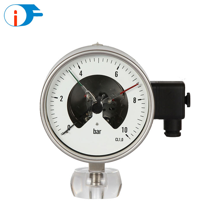 Low Pressure 100 mm Manometer Pressure Gauge with Electric Contact