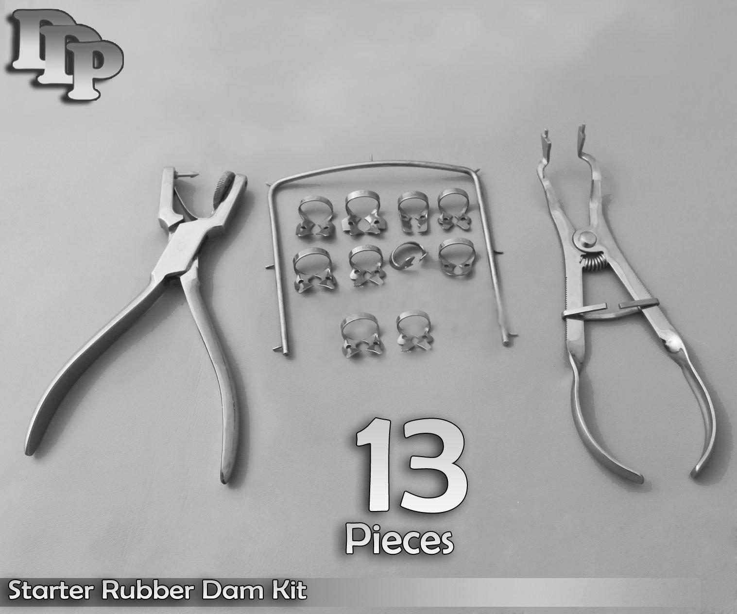 ODM Starter Rubber Dam Kit of 13, Clamps, Forceps, Frame, Punch