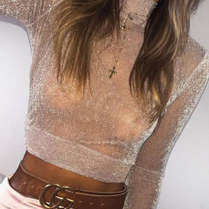 wholesale long sleeve umbilical sexy perspective mesh women tops blouse