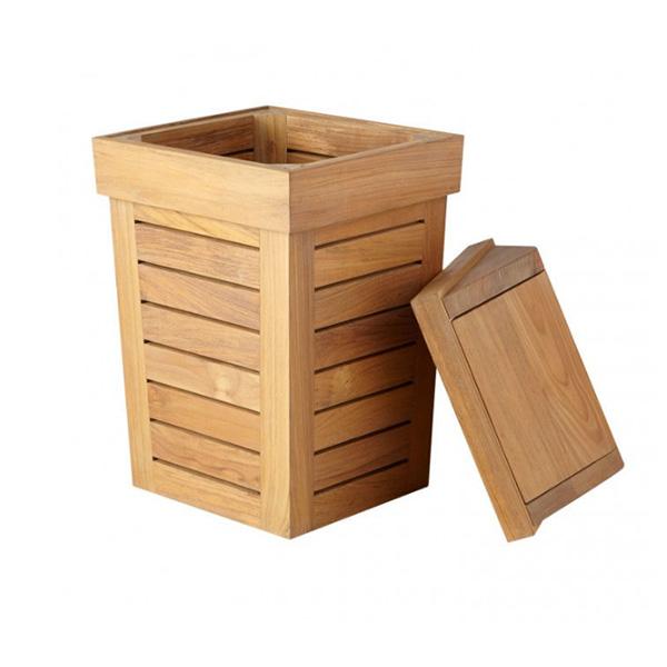 Eco vriendelijke houten afval mand met deksel afvalbakken - Cestos de madera ...