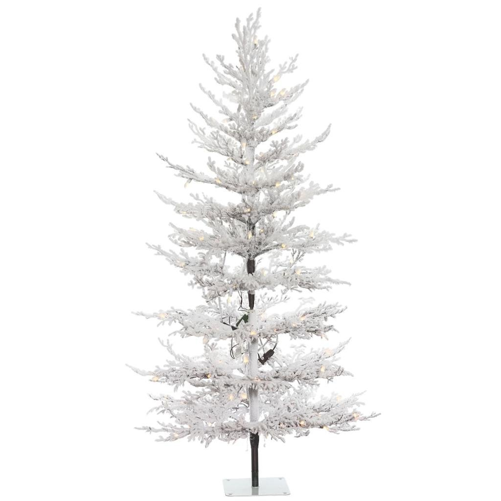 get quotations vickerman 491942 5 x 32 flocked winter twig pine tree 100 warm white