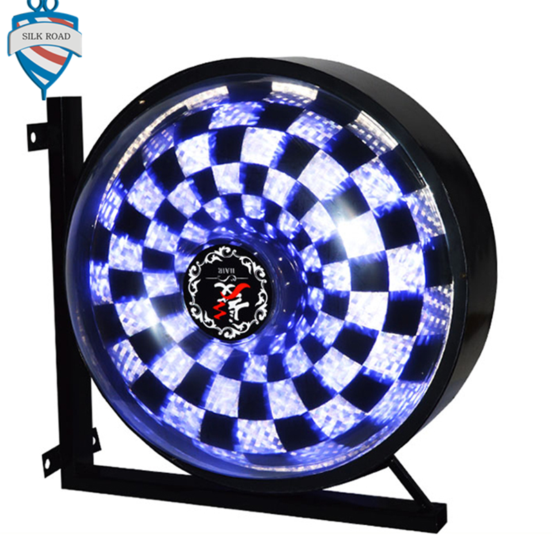 New style Best seller rotating barber shop pole round colorful lighting lamp фото