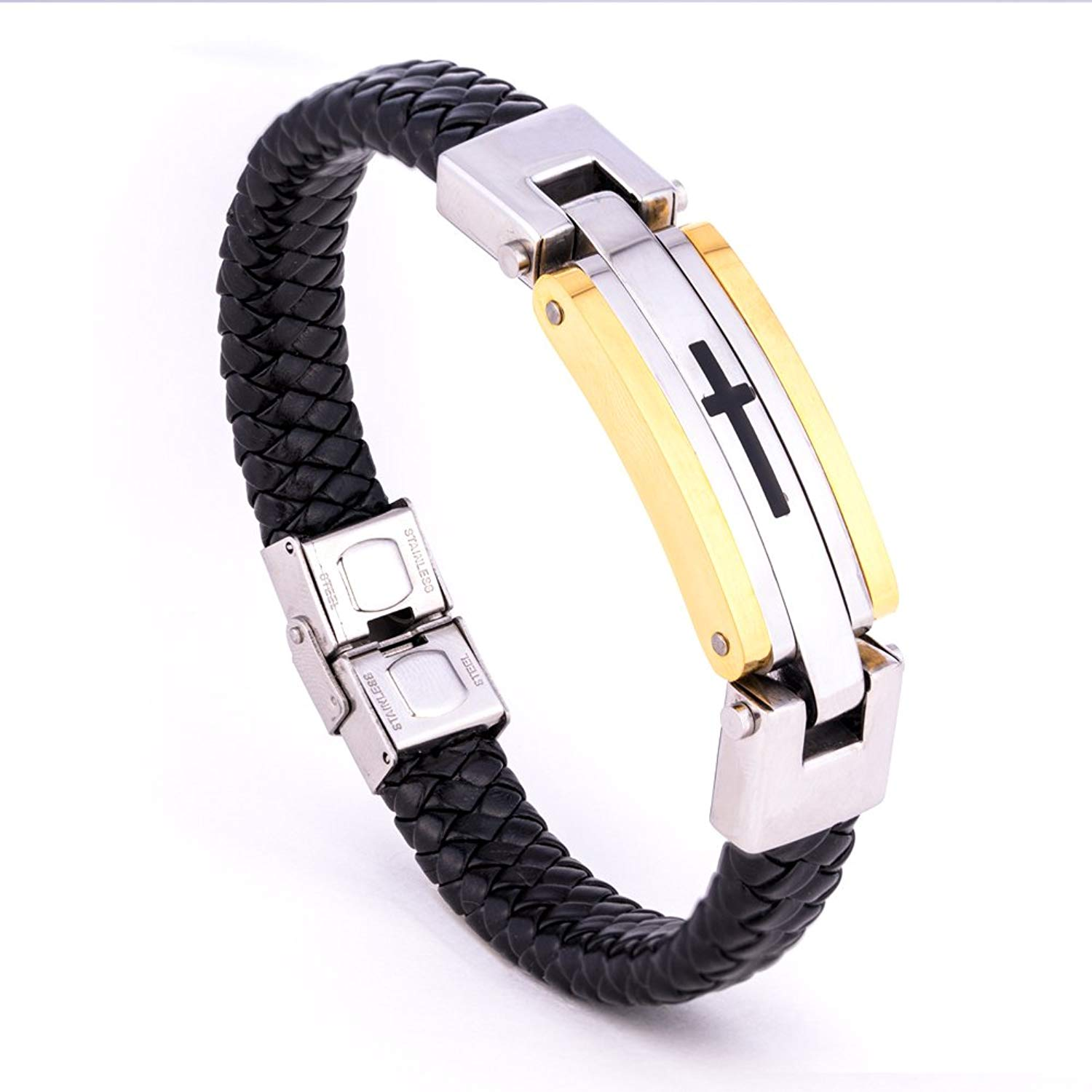 Bracelet for Men Fashion Jewelry Stainless Steel Bracelets, PU Leather /Stainless Wire Braided Hand Wrist Band, Classic Cross Cuff Bangle with Exquisite Box
