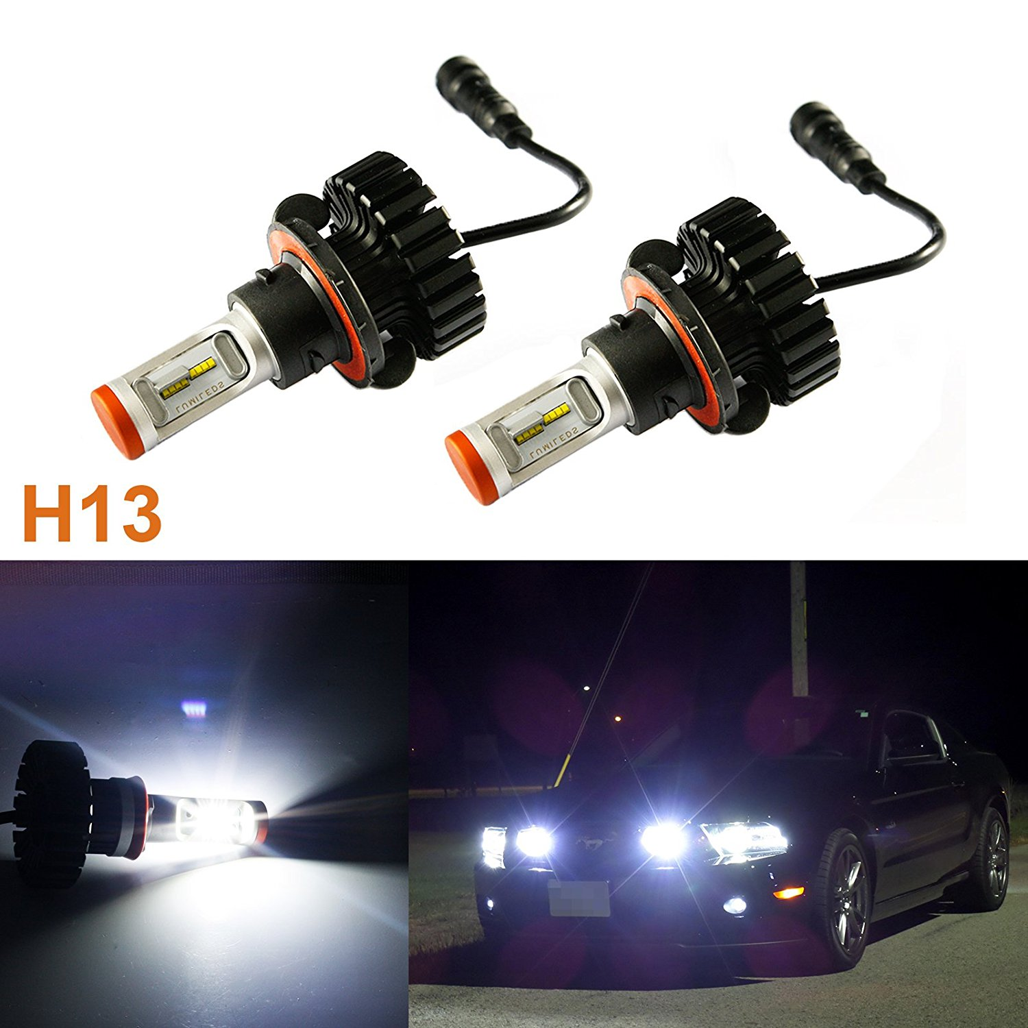 Xotic Tech 2x White Philips Luxen 160W Hi/Lo Beams H13 9008 6000K LED Headlights Bulb kit (Newest Model)