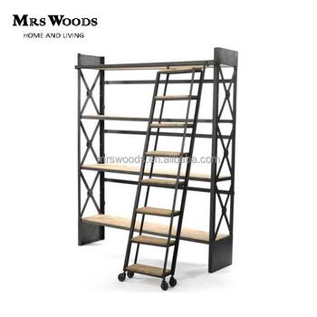 metalen industrile vintage rustieke boekenkast met ladder
