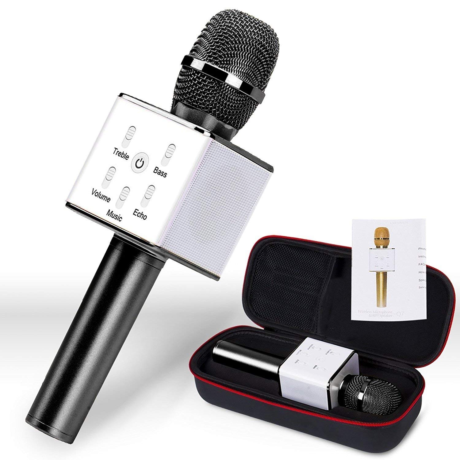 NEW 2018 Portable Q7 Karaoke Microphone - Wireless Bluetooth Speaker Mic - 3-in-1 Handheld KTV Player Machine for Dynamic Singing with Music - iPhone, iOS, Android, Tablet Compatible (Piano Black)