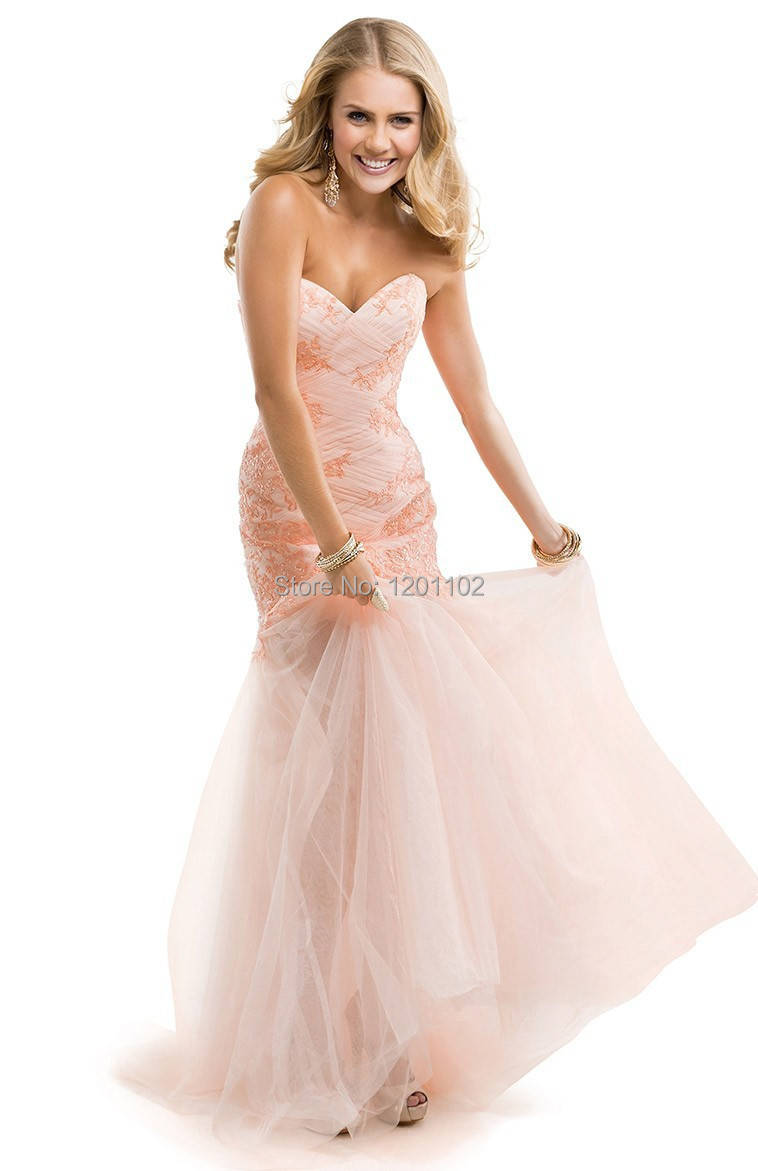 Get Quotations · 2015 Exquisite Mermaid Dresses Peach Pink Tulle With  Flowers Lace Illusion Strapless Evening Dresses Formal Prom 2b9113df5419