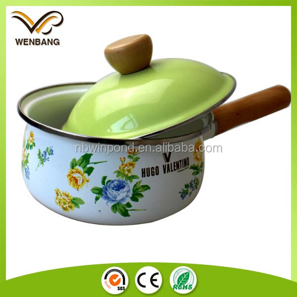 logo printing enamel hot pot cooker with lid, carbon steel full decal pot